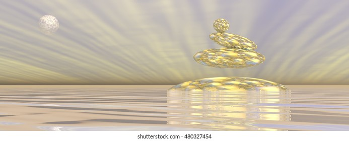 Zen stones upon water in gray background with rays and full moon - 3D render