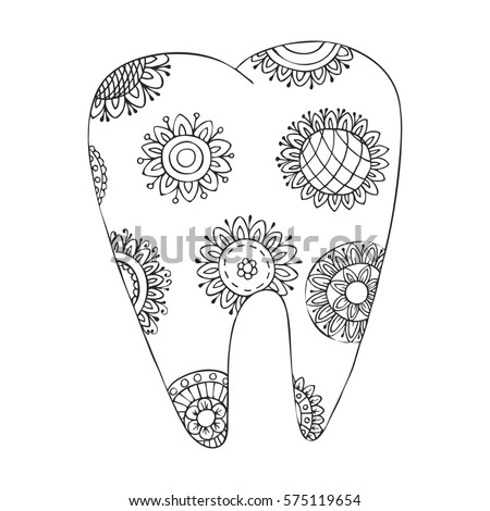 Zen Tangle Doodle Tooth Zentangle Dental Stock Illustration