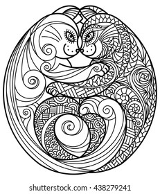 Zentangle hugging cats. Raster monochrome illustration.