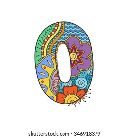 Zentangle number. Decorative number can be used for web design, print cards, booklets, flyers, textile t-shirts and other.