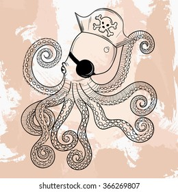 Zentangle Octopuss, tattoo design. Ornamental tribal patterned illustration for adult anti stress coloring pages. Hand drawn black sketch isolated on grunge background.