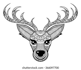 zentangle reindeer for adult anti stress coloring pages ornamental tribal patterned christmas deer head illustration