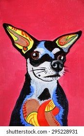 Zentangle stylized chihuahua painting on wood. Hand Drawn doodle illustration using markers for the outlines. good for products like tee shirts, magnets or greeting cards