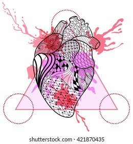 Zentangle stylized Human heart in triangle frame with watercolor ink drop. Hand Drawn doodle heart illustration. Sketch for tattoo or makhenda. Hipster artistically patterned print.