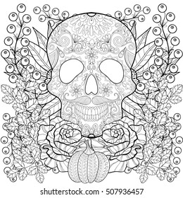 Zentangle stylized Skull with pumpkin, rose, sunflower for Halloween. Freehand sketch for adult anti stress coloring page with autumn doodle elements. Ornamental artistic illustration