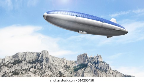 Zeppelin airship covered with solar panels in sky above the mountains. 3d rendering illustration.