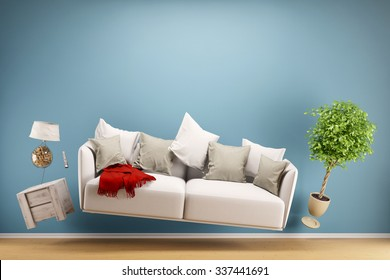 Zero Gravity Sofa hovering in living room with furniture (3D Rendering)