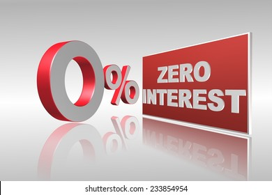 Zero interest 3d illustration for business, banking and financial related
