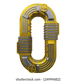 Zero number in steampunk style. Null isolated on white background. Futuristic 3d lettering with golden and metal gears and tubes. High detailed. 3d render. Fantasy numbers set. Stock illustration