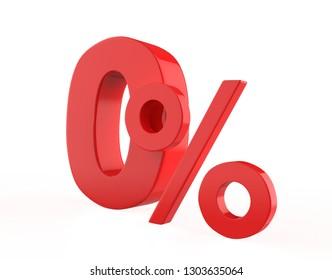 zero percent isolated on white background. 3d illustration
