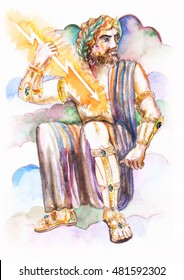 Zeus - the god of thunder, Jupiter, the Greek and Roman mythology.  watercolor. sketch