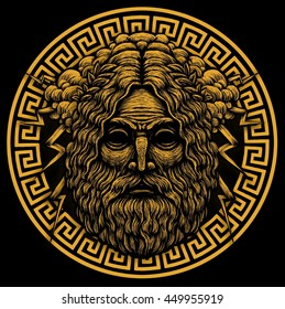 Zeus Greece God. Graphic illustration on background