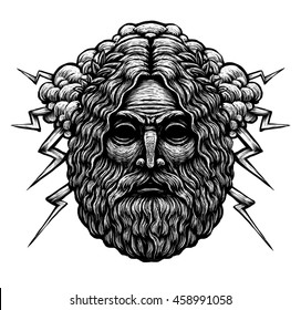 Zeus Greece God. Graphic illustration on background