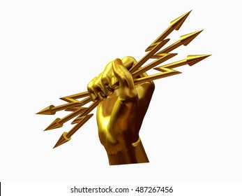 Zeus hand holding a bundle of lightning in gold, 3d Illustration