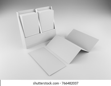 Z-fold brochure or flyer mock-up. 3D rendering