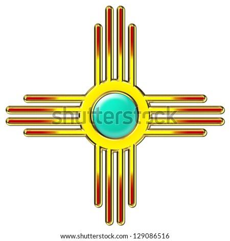 Zia Sun Zia Pueblo New Mexico Stock Illustration 129086516