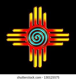 Zia Sun with spiral - Zia Pueblo - New Mexico