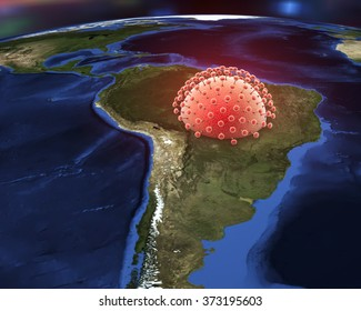Zika virus and Brazil, a virus which causes Zika fever found in Brazil and other tropical countries. Elements of image furnished by Nasa