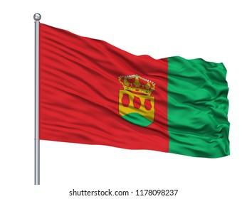 Zilina Vlajka City Flag On Flagpole, Country Slovakia, Isolated On White Background
