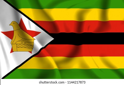 Zimbabwe 3D waving flag illustration. Texture can be used as background.