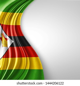 Zimbabwe  flag of silk with copyspace for your text or images and White  background-3D illustration