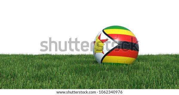 Zimbabwe Zimbabwean flag soccer ball lying in grass, isolated on white background. 3D Rendering, Illustration.