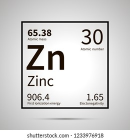 Zinc chemical element with first ionization energy, atomic mass and electronegativity values ,simple black icon with shadow on gray