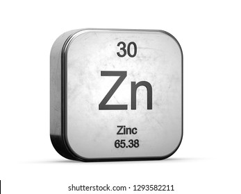 Zinc element from the periodic table series icons. Metallic icon 3D rendered on white background
