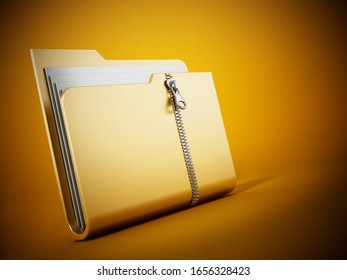 Zipped folder standing on yellow background. 3D illustration.