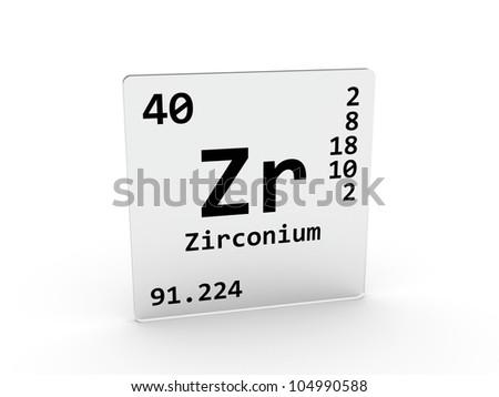 Zirconium Symbol Zr Element Periodic Table Stock Illustration