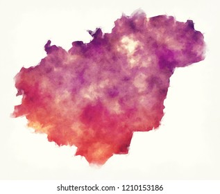 Zlin region watercolor map of Czech Republic in front of a white background