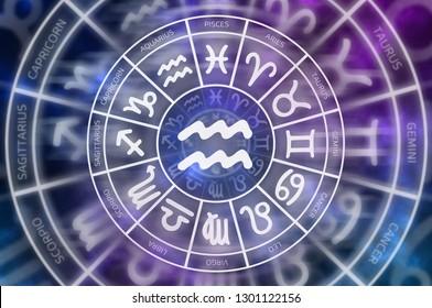 Zodiac Aquarius symbol inside of horoscope circle - astrology and horoscopes concept