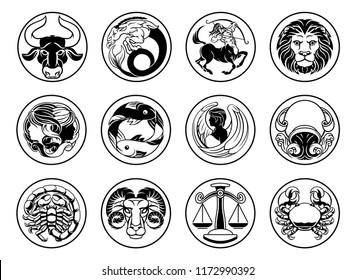 Zodiac astrology horoscope star signs icon symbols set