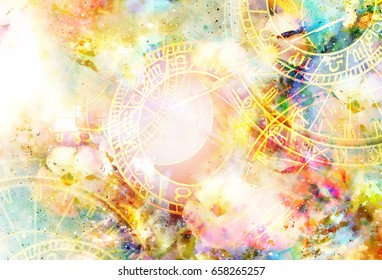 Zodiac collage in cosmic space. Abstract color background.