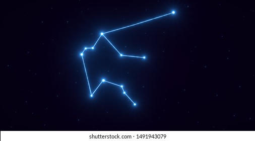 Zodiac Constellation Aquarius Sign With Stars - 3D Illustration
