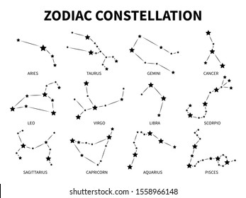 Zodiac constellation. Aries taurus gemini cancer leo virgo libra scorpio pisces zodiacal mystic astrology black isolated horoscope signs