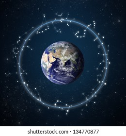 """zodiac constellations with starry sky background """"Elements of this image furnished by NASA"""""""