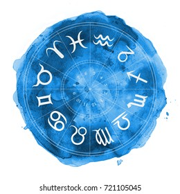 zodiac horoscope symbols blue watercolor illustration