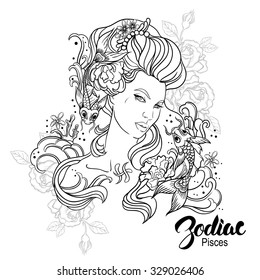Zodiac. IIlustration of Pisces as girl with flowers. Design for coloring book page.