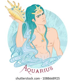 Zodiac. Illustration of the astrological sign of Aquarius as a beautiful man with a naked torso. Round shape