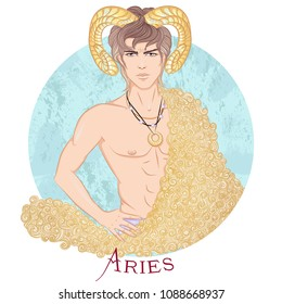 Zodiac. Illustration of the astrological sign of Aries as a beautiful man with a naked torso. Round shape