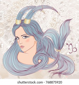 Zodiac. Illustration of the astrological sign of Capricorn as a portrait beautiful girl with long hair. The illustration on decorative grunge background in retro colors