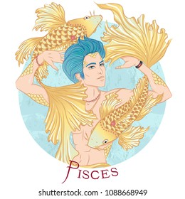 Zodiac. Illustration of the astrological sign of Pisces as a beautiful man with a naked torso. Round shape