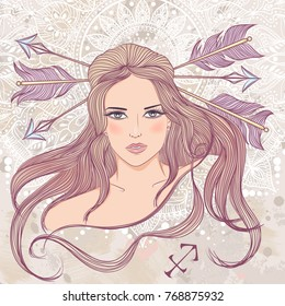 Zodiac. Illustration of the astrological sign of Sagittarius as a portrait beautiful girl with long hair. The illustration on decorative grunge background in retro colors