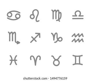 zodiac outline stylized sign horoscope  illustration