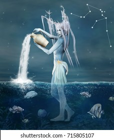 Zodiac series - Aquarius as a fantasy creature with vase in a seascape - 3D illustration