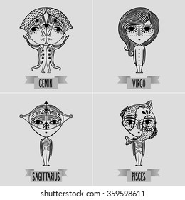 zodiac set of mutable signs - decorative minimalist drawing of gemini, virgo, sagittarius, pisces