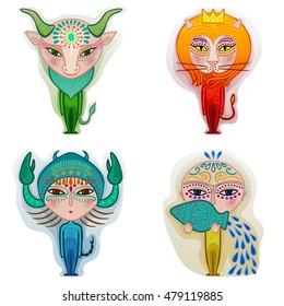 zodiac set of taurus leo scorpio and aquarius, decorative minimalist drawing of the fixed signs