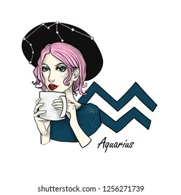700ecdb6188 Zodiac sign Aquarius. Beautiful girl in a hat with a cup in her hands.