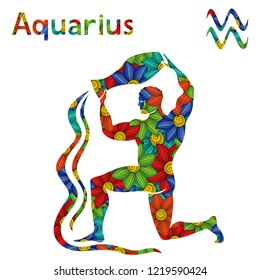 Zodiac sign Aquarius with filling of colorful stylized flowers on a white background,  illustration